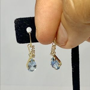 Real 14k Gold Blue Drop Dangling Earrings